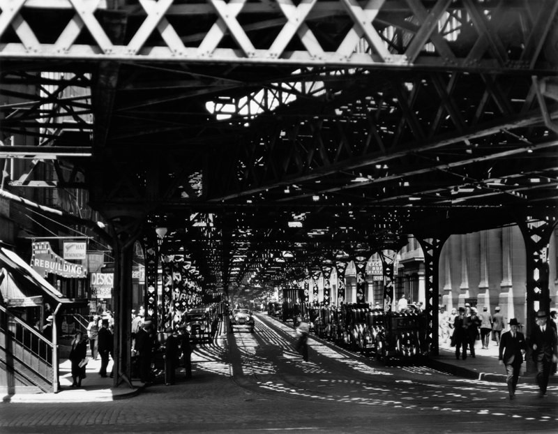 Under the El at the Battery, New York, 1932