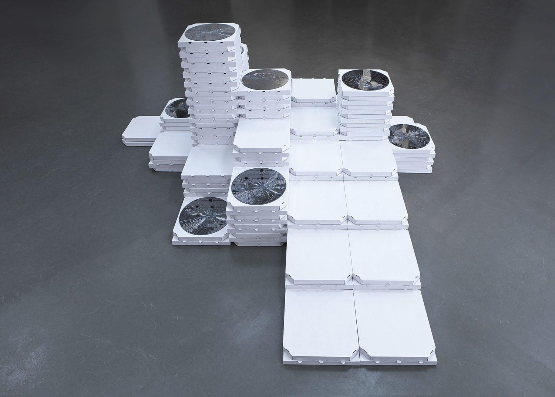 Newton's Cenotaph, 2017. Pizza boxes, mirrors