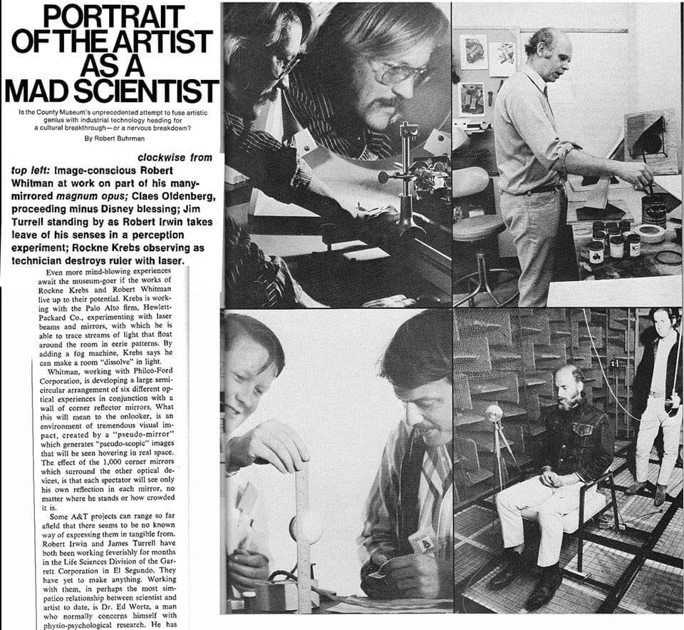"""Текст о выставке """"Искусство и технологии"""" в музее LACMA, Лос Анджелес, 1968 год // Фото из Твиттера @rocknekrebsart"""