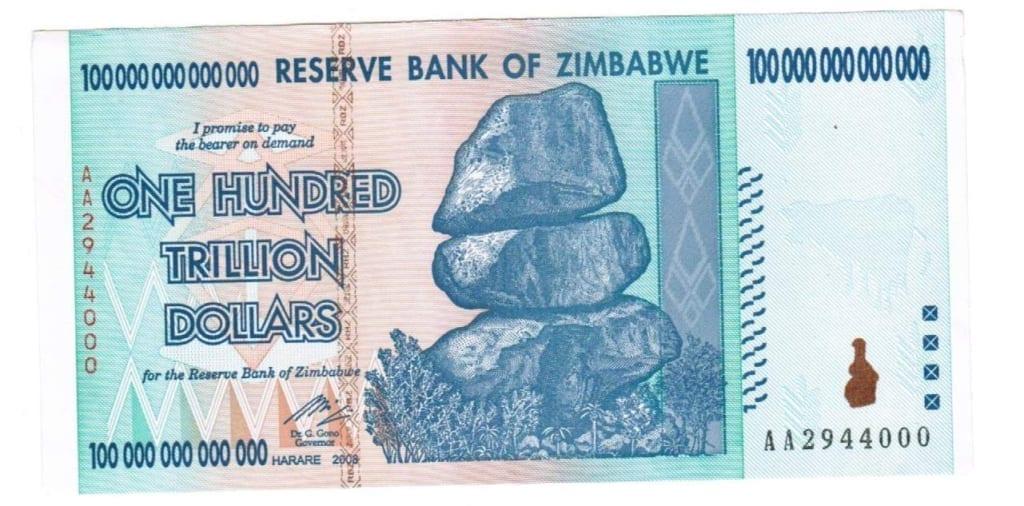 Банкота в один триллион долларов Зимбабве: последствия гиперинфляции.