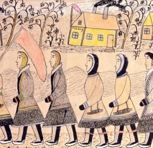 Мария Петровна Выучейская, «Идут на демонстрацию», 1932–1933. Бумага, карандаш цветной. 21,8 х 31 см.