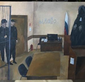 Рома 9cyka, «Поцелуй дементора/Темная магия», 2020. Холст, акрил, 70 х 50 см.